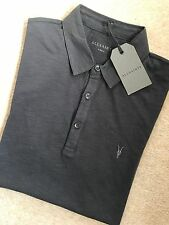 "ALL SAINTS WASHED BLACK ""SOUL"" LOGO SS POLO T-SHIRT TOP - EXTRA SMALL - NEW TAGS"