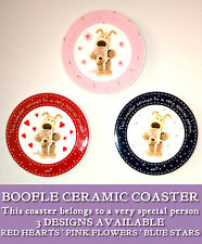 BOOFLE DOG CERAMIC COASTER Special Person RED HEART Blue Star PINK FLOWERS Gift