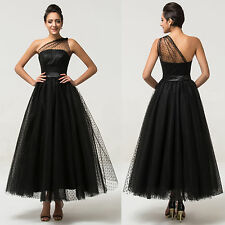 New Long One Shoulder Formal Ball Gown Evening Prom Party Tulle Dress Size 2~16