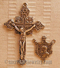 VINTAGE ROSARY PARTS SUPPLIES Draped Crucifix Center Sterling Bronze 302-1103