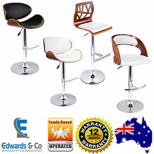 Wooden Bar Stool Timber Kitchen Dining Chair Barstool Black White PU Leather x2