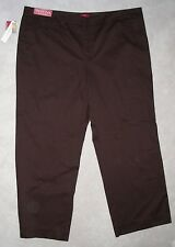 nwt MERONA Brown STRETCH COTTON KHAKIS Just Below RELAXED 24W 22W Leg31 Fit#1