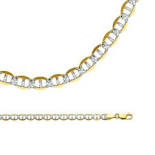 Mariner Necklace Solid 14k Yellow White Gold Chain Pave Big Heavy , 6.5 mm