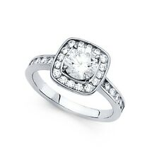 14k Yellow OR White Gold Square Halo CZ Engagement Ring Round CZ Solitaire Band