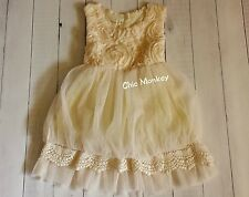 Champagne Flower Girl Dress is Lined with back tie..Sizes 2t to 6