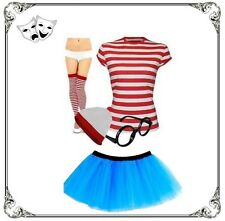Ladies Striped Red White T-Shirt Wheres Character Fancy Dress Costume TuTu Set