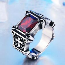Women Men Silver three Cross Gothic Ruby Stainless Steel Ring Huge Punk Band New