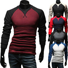 Men Fashion Slim Fit T-shirt Crew-neck Long Sleeve Patchwork Tee Tops Affordable