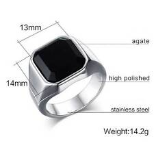 Fashion Retro Black Silver Mens Band Stainless Steel Ring Size 7-11 Jewelry Gift
