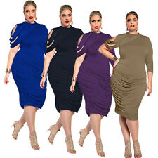 Plus Size Women Bodycon Ruffle Solid Skirt Party Evening Cocktail Formal Dresses