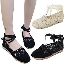 Women Ladies Flats Lace up Cut Out Ballet Flats Strappy Pumps Shoes Size New G
