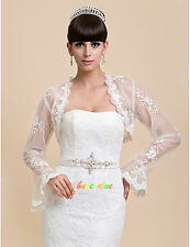 Lace Shawl Bolero Wedding Jacket Bridal Custom Size Long Sleeves shawl wraps