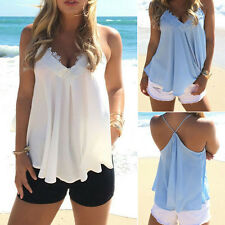 NEW Sexy Womens Loose Sleeveless V-neck Straps Chiffon Tops Blouses Summer S-XL