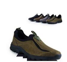 Mens loafer slip on trail loafer suede leather hiking walking sneakers shoes @@@