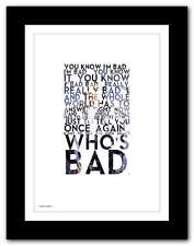 MICHAEL JACKSON ❤ Bad ❤ poster typography art limited edition print - 5 sizes #2