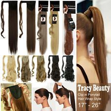 100% Natural Layered Long Hair Wrap Around Ponytail Clip in Hair Extensions T23
