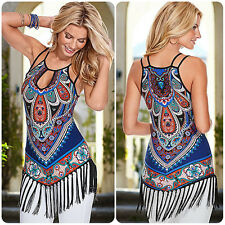 Women Summer Casual BOHO Floral Tassel Sleeveless Tops T-shirt Clothes Camisole