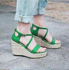 Womens Green Black Real Leather Strappy Sandals Platform Wedges High Heels Pumps