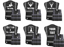 PRINTED THE STAG DO NIGHT HI VIS BLACK VEST FUNNY FANCY DRESS STAG DO PARTY