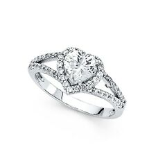 14k Yellow OR White Gold Heart Halo CZ Engagement Ring Heart Solitaire CZ Ring