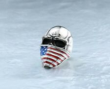 Mens Gothic Skull American Flag Ring Silver Stainless Steel Biker Jewelry Band