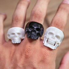 Skull Ring Gothic Bone Jewellery Mens Biker Rings Taxidermy Skeleton Carving