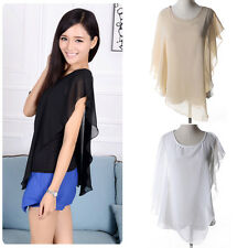 Stylish Women Summer Casual Chiffon Blouse Batwing Sleeve Irregular Top T-shirt