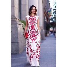 UK Women Summer Floral Boho Long Maxi Evening Party Cocktail Prom Chiffon Dress