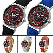 Vintage US Fire DEPT Leather Band Analog Quartz Watch Men's Wristwatches Retro