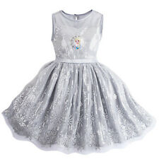 NWT DISNEY STORE Frozen ELSA PARTY DRESS SZ 9/10 Gray Snowflake