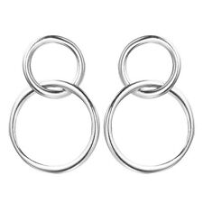 Unique 925 Silver Double Circle Shaped Geometry Stud Earrings Women Wedding Gift