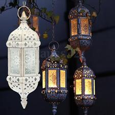 Candle Style Glass Lantern Holder Metal Hanging Moroccan Candlestick Decorative