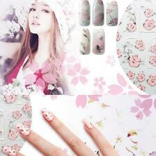 1Set Design Tips Flowers 3D Nail Stickers Nail Art Pink Manicure Women Embossed