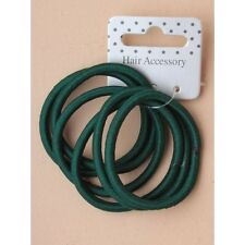 Card of 6 bottle green and pink snag free Endless Hair Elastics Bobbles Ponies