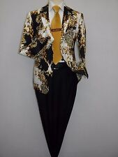 Mens Jacket INSERCH Paisley leopard Cotton 549-38 Gold Italian Animal Design NEW