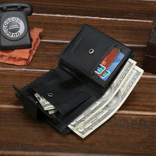 Trifold Mens Real Genuine Leather Wallet Coin Pocket ID Photo Window Card Purse