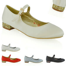 WOMENS PUMPS LOW HEEL BRIDAL LADIES PROM WEDDING PARTY SATIN CLASSIC SHOES
