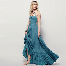 Strappy Back Ruffle Hem Maxi Dress Free People Inspired Boho Beach Vintage