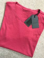 "ALL SAINTS MEN'S ROSE RED ""WARN"" CREW T-SHIRT TOP - EXTRA SMALL (XS) - NEW TAGS"