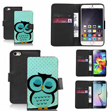 faux leather wallet case for many Mobile phones - blue sleepy owl
