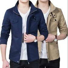 Fashion Mens Spring Cotton Blend Military Slim Fit Outwear Jacket Casual Coat