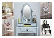 Lumberton Dressing Table Stool and Mirror- Black White Pink Duck Egg Blue Silver