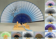 Flowers Style Hand Held Silk Bamboo Folding Fan Wedding Favor