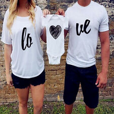 Fashion Summer Heart Love Family Fitted Baby Romper Parent Short Sleeve T-shirt