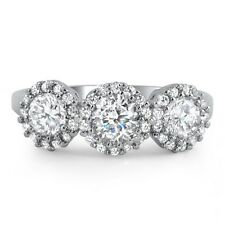 Silver 3 Stone Signity CZ Vintage Womens Engagement Ring