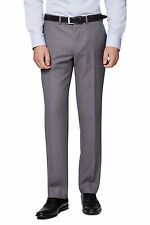 Moss 1851 Mens Grey Suit Trousers Tailored Fit Pin Dot Wool Flat Front Pants