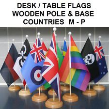 """Desk Table flag with wooden pole & base. 9"""" x 6"""" flag. Countries M-P."""