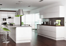 Complete Lucente White Gloss Handleless Kitchen Base and Wall Cupboards Units