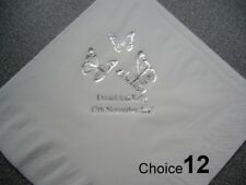 100 Personalised Wedding Napkins 9 NEW designs, 2 lines of text