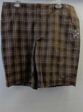 NWOT mens PERRY ELLIS brown plaid golf flat front shorts size 36 CLEAN preppy
